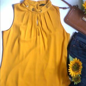 WHBM yellow sleeveless blouse